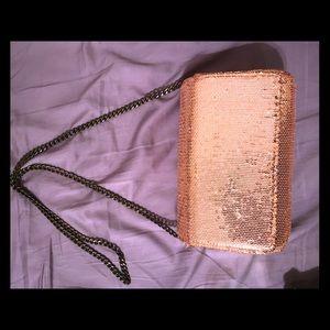 NEW J. CREW rose gold clutch